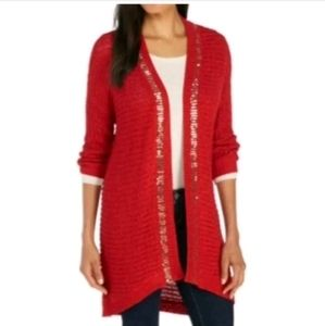 New Direction red/gold sequined long cardigan Sz S